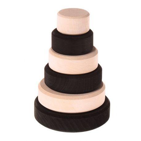 Houten zwart witte ringentoren. Bevordert de motoriek. De toren is ongeveer 12 cm hoog en bestaat uit 6 schijven. Geschikt voor kinderen vanaf 1 jaar. Toren, zwart-wit, monochroom, Grimm's 93080