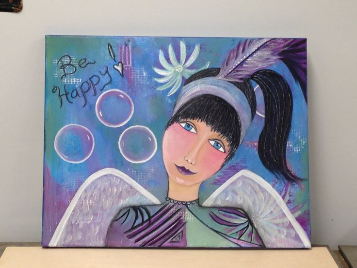 Price:  $150.00  Mix Media on canvas Title:  Mandy Earth Angel  Collaborative art by Judy Wilson and Pat Kammer