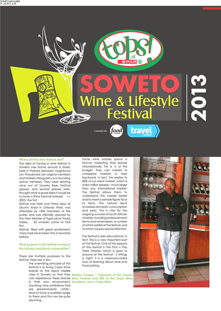 Soweto Magazine, 2013 TOPS at SPAR Soweto Wine & Lifestyle Festival founder