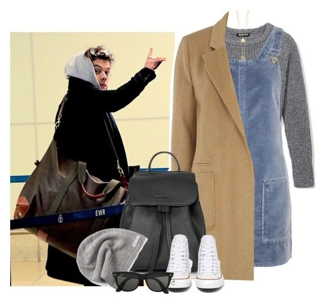 """""""Newark Liberty International Airport"""" by thisistheend ❤ liked on Polyvore featuring Topshop, mel, Converse, Ray-Ban and The Limited"""
