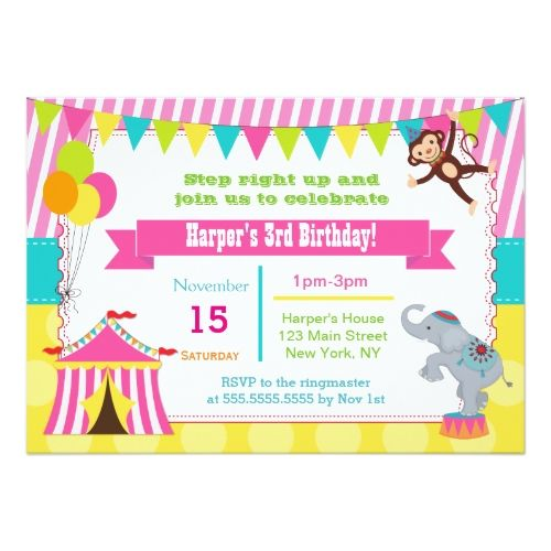 120 best circus birthday invitations images on pinterest circus circus birthday invitations girl circus carnival birthday party invitations stopboris Image collections