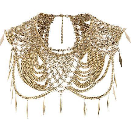 Gold tone draped chain cape-necklace