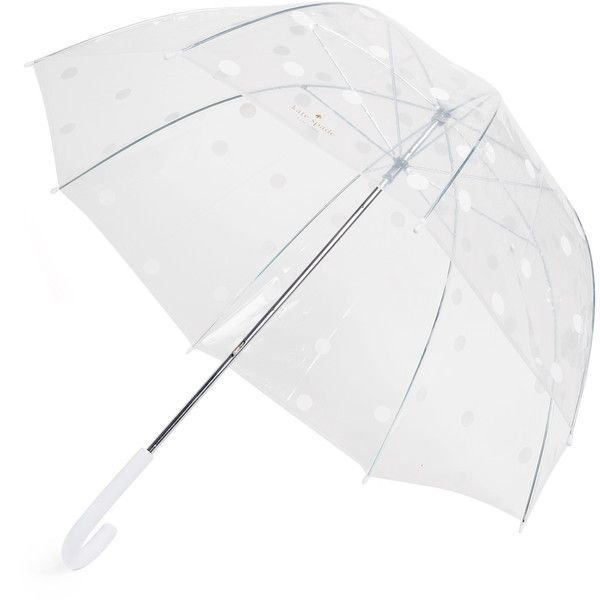 Kate Spade New York Dot Umbrella ($38) ❤ liked on Polyvore featuring accessories, umbrellas, white dot, white umbrella, kate spade umbrella, see through umbrella, transparent umbrella and polka dot umbrella