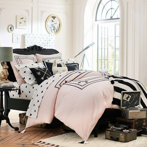 PB Teen Emily U0026 Meritt Folk Embroidered Duvet Cover, Twin, Blush ($159)