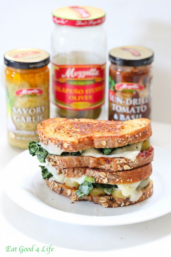 Eat Good 4 Life sun dried tomato and kale grilled cheese sandwich