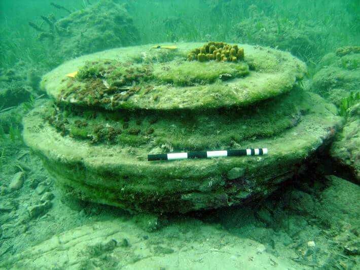 Underwater structures originally thought to have been the remains of an ancient Greek city turn out to have been produced by microbes.  archaeology.org/issues/227-1609/trenches/4733-trenches-greece-zakynthos-microbes  (Courtesy Ephorate of Underwater Antiquities)