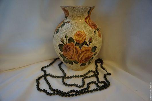 Вазы ручной работы. Ярмарка Мастеров - ручная работа. Купить Вазы ручной работы. Стеклянная ваза Кремовые розы. Handmade.
