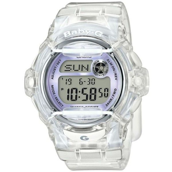 Baby-G White Womens Clear Jelly With Light Purple Metallic Face Watch... (£61) ❤ liked on Polyvore featuring jewelry, watches, white, lavender jewelry, quartz movement watches, white wrist watch, white jewelry and clear watches
