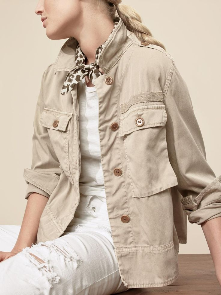 J.Crew Looks We Love: women's garment-dyed safari shirt-jacket, vintage cotton T-shirt, vintage crop jean in destroyed white and leopard bandana.