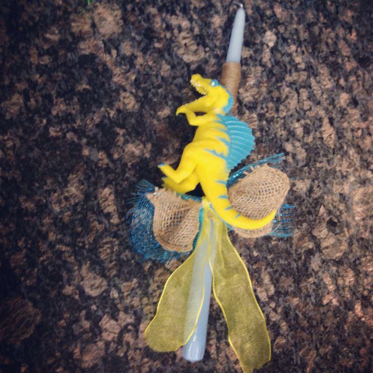 Dinosaur and twine decorated Lambada/Easter candle