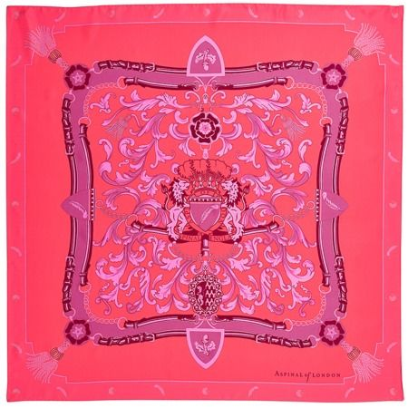 Aspinal Signature Shield Silk Scarf in Neon Pink