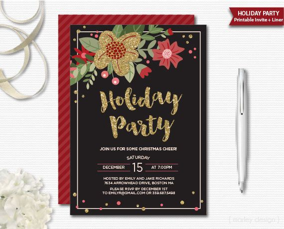 Les 18 meilleures images du tableau winter party sur pinterest black gold christmas invitation christmas party by marleydesign stopboris Gallery