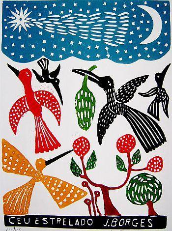 J. Borges ~ Ceu Estrelado (Starry Sky) woodcut illustration genio del folklore brasileño aka José Francisco Borges — via Crean