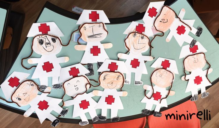 "Following on with our ""Doctor"" theme this month, here we have some adorable nurses!  You may need: White construction paper Red A4 paper Crayons Gluesticks Brown yarn To start with…"