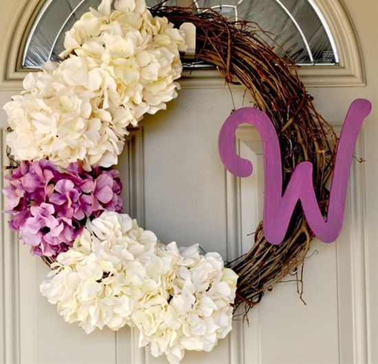 hydrangea monogram wreath - Click image to find more home decor Pinterest pins