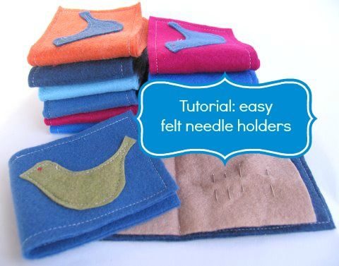 Tutorial: How to make an easy felt needle holder.  A lovely idea for a school fete & they are quick to make.