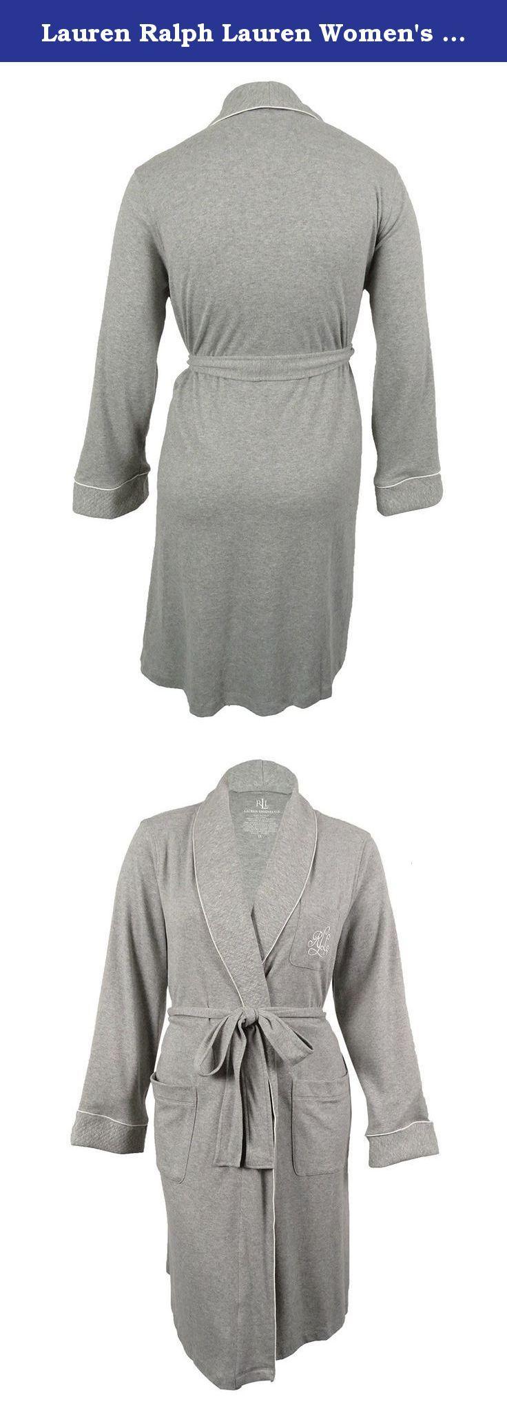 Lauren Ralph Lauren Women's Shawl-Collar Short Robe (L, Heather Grey). This robe features soft cotton fabric and embroidered LRL logo.