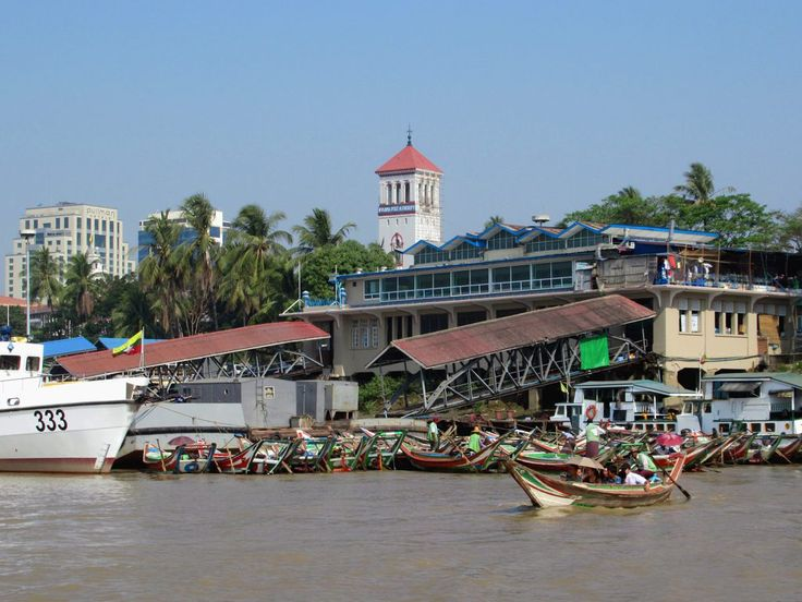 The passenger ferries to Dalah on the right bank of the Yangon River depart from the Pansodan Ferry Terminal in downtown Yangon, Myanmar (Burma).
