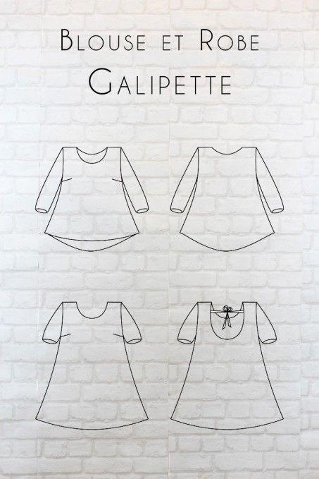 Patron Galipette, plusieurs options : manches longues/courtes, petit ou grand dos rond, robe/blouse  #DIY#couture#eglantineetzoe