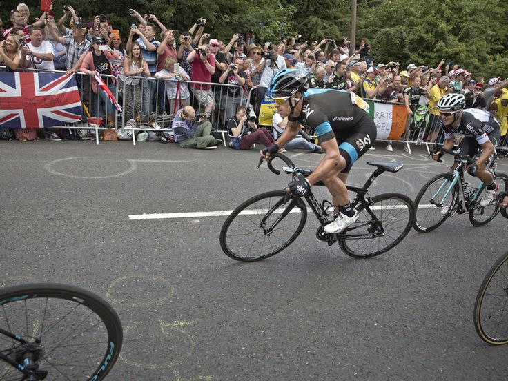 Richie Porte finished with the leaders despite a small crash and chase back to the peloton.  2014 Tour de France stage 2 | Photo: Scott Mitchell