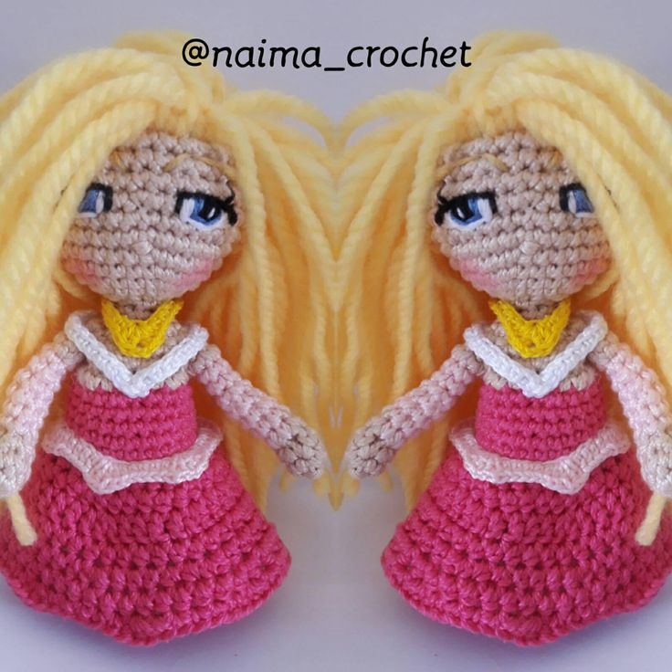 handmade, amigurumi doll,doll amigurumi,  crochet doll, princess sleeping beauty, posable girls,toy with wire frame, pink dress, custom de naimacrochethandmade en Etsy