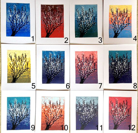 Reduction Linocut - handmade - cherry tree - multiple colours.