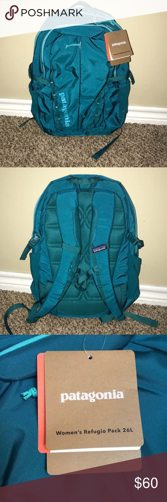 """Women's Patagonia Refugio Pack Brand new Patagonia backpack with 15"""" laptop compartment, internal organization, stretch water bottle pockets, women's specific harness for a great fit, and a soft mesh back panel and straps for carrying comfort. Patagonia Bags Backpacks"""
