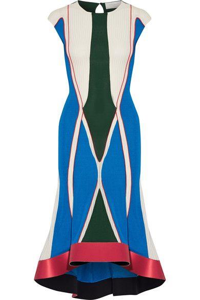 Esteban Cortazar - Asymmetric Satin-trimmed Color-block Stretch-knit Midi Dress - Blue - FR34