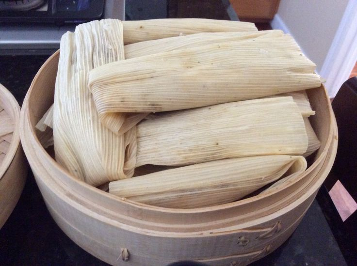 Chicken tamales in a bamboo steamer--how's that for fusion?