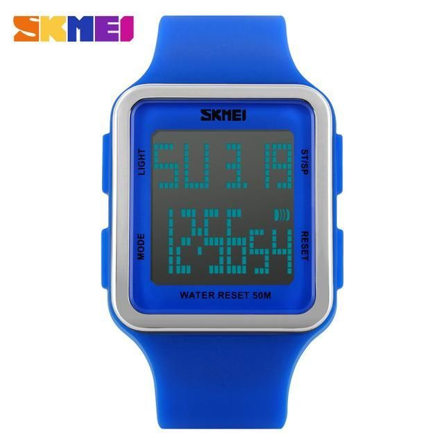SKMEI 2017 popular brand watches women fashion sports digital watch blue black red dials 50M waterproof quality rubber band