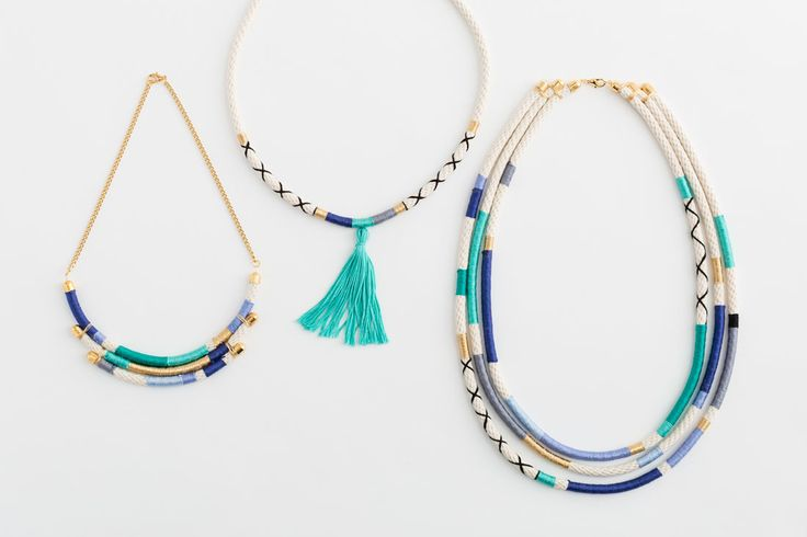 DIY tutorial to make summery necklaces using cotton cord, embroidery thread and jewellery wire - so much scope for making it how you want | via brit.co