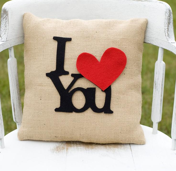 I Love You- Decorative Felt I Heart You Burlap Pillow 14x14 Photography Prop by lollipoppillows