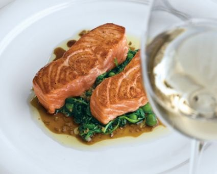 ... Pea Shoots and Ginger-Soy Vinaigrette Recipe #salmon #dinner #healthy