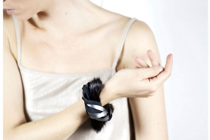 Twested Bracelet_Mink+Gunmetal ELEMENTS Collection 2016/17 Leather jewellery by My Golden Cage