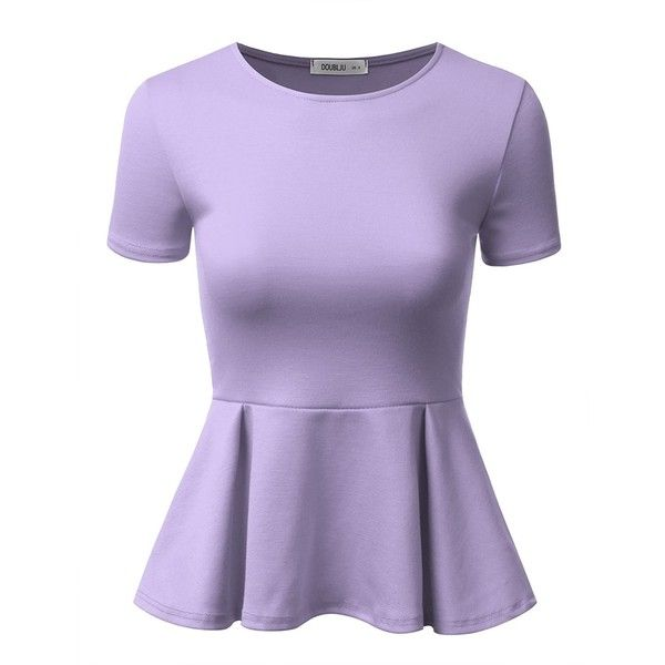 Doublju Stretchy Flare Peplum Blouse Tops For Women With Plus Size... ($12) ❤ liked on Polyvore featuring tops, blouses, plus size purple shirt, plus size button up shirts, women's plus size button up shirts, plus size tops and button-down shirt