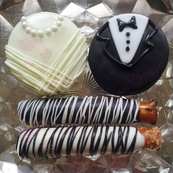 Chocolate Dipped Oreo Bride & Groom and Chocolate Dipped Pretzel Wedding Favors