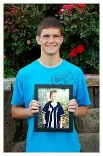 Pic on last day of school holding pic of first day.