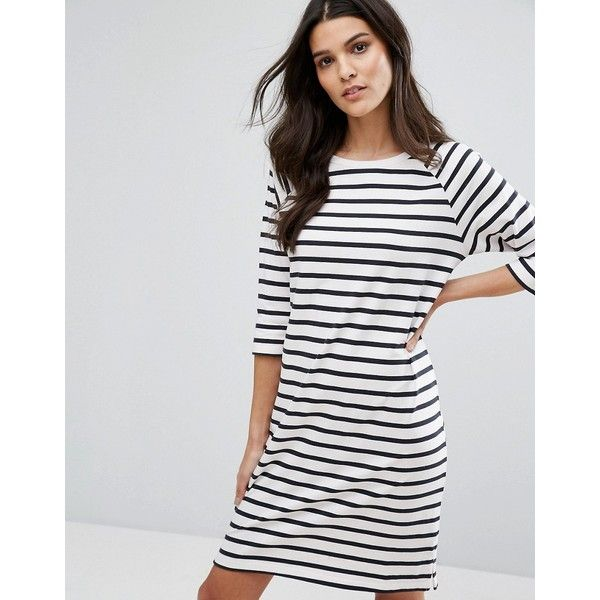 Selected Stripe Dress ($43) ❤ liked on Polyvore featuring dresses, multi, stripe jersey dress, 3/4 sleeve dress, three quarter sleeve dress, jersey dresses and oversized jersey