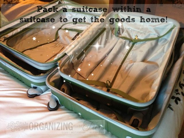 Know you'll have a lot to bring home with you? Pack a suitcase within a suitcase   OrganizingMadeFun.com