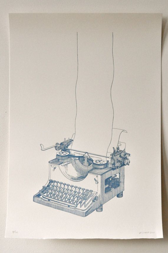 $50 OFF regular price of $75 each.  This is a print of a drawing I made of a vintage German Triumph typewriter. Title: Long Story  The original drawing was turned into a plate that was letterpress printed.  Each one was printed by hand right here in New York at the Brooklyn Navy Yards.  Measures 15x22 300gsm 100% cotton cream Somerset textured paper Deckled bottom edge Blue and metallic silver ink From a limited edition of 75 signed and numbered by me  I will ship these out via 1st class…