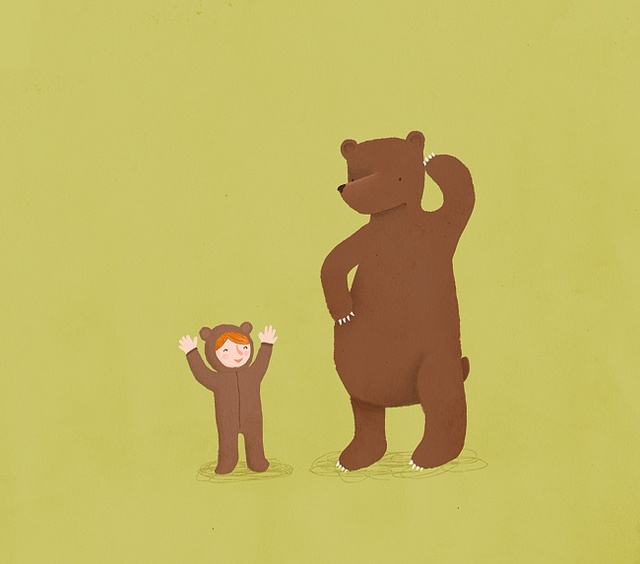 Bear and Girl - Dress up by Marloes de Vries