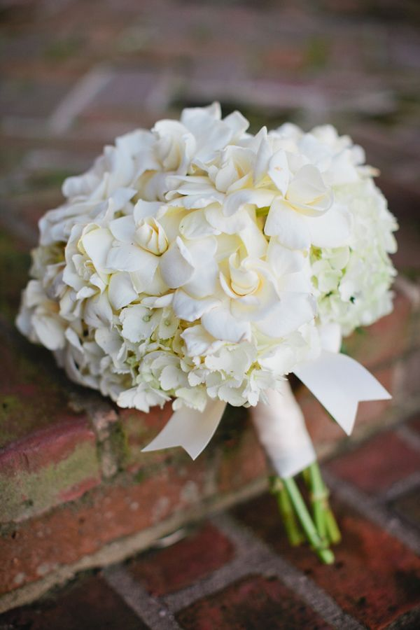 Gardenia-Hydrangea-Wedding-Bouquet. Different colors but same flowers. Gardenias for my late mother, hydrangea for my grandmother.