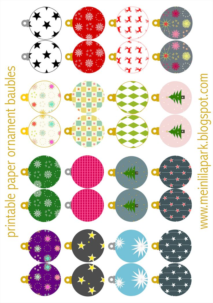 Free printable Christmas ornaments: baubles