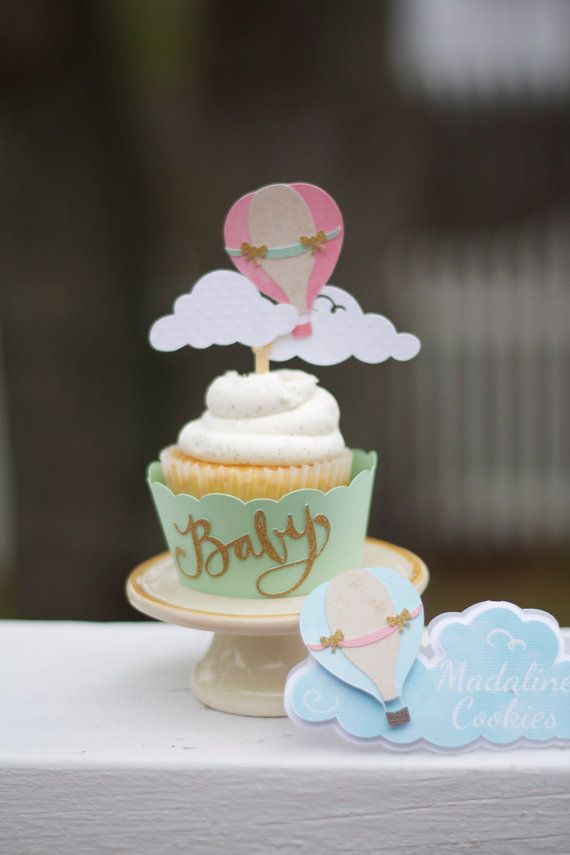 Hot Air Balloon Cupcake Toppers - Multi layered. 12 Toppers
