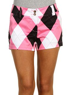 Cute argyle pink  black shorts. Create a sun visors to match at www.TakeTwoVisorShop.com