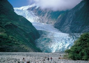 Fox and Franz Josef glaciers - West coast, New Zealand - The snow gathers in the Nevé, which is a giant basin in the mountains, and as the snow compresses, it forms hard ice. Gravity pulls the ice to 200 metres above sea level. #CoxandKings