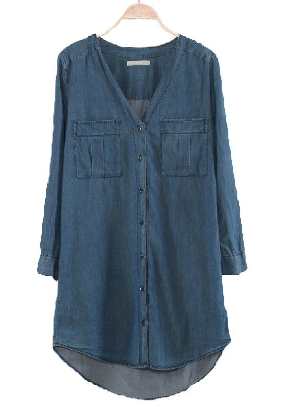 Blue Buttons Pockets V-neck Long Sleeve Denim Dress