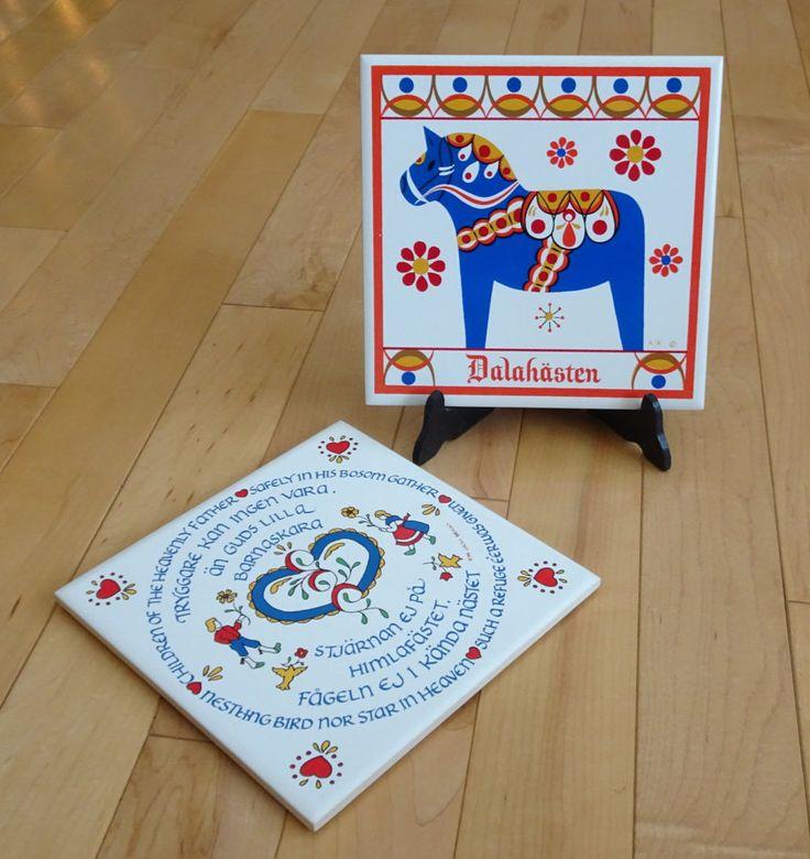 Swedish Trivets, set of 2, Dala Horse and Swedish Prayer Design with Sweden Folk Art | Scandinavian Trivet Art Tile | Swedish Home Decor by SimplyAgain on Etsy