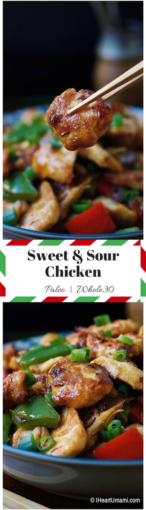 Paleo Sweet and Sour Chicken. Slightly crispy yet juicy and moist chicken stir-fry with homemade sweet and sour sauce that's sweetened with dry apricots. Perfect everyday and meal prep recipe. Paleo Chinese food. Paleo Asian food. Whole30 sweet and sour chicken. IHeartUmami.com