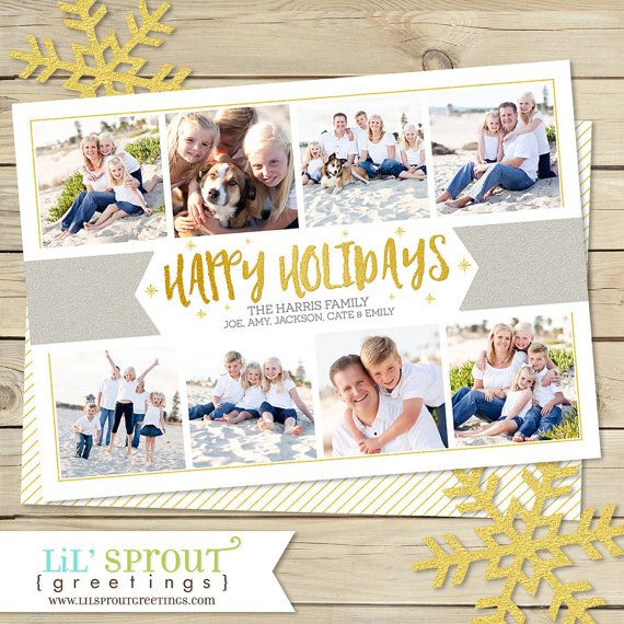 Gold Collage Holiday Photo Card Multi Photo by lilsproutgreetings